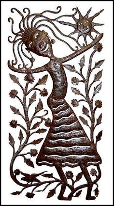 """Haitian Art - Peasant Woman - Recycled Haitian Steel Drum Metal Art - 15"""" x 30"""""""