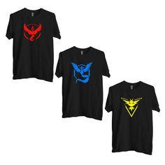 Pokemon Go Team, Valor Team, Mystic Team, Team Instinct, Team Pokeball, nerd, Black Tee shirt, Pokemon T-shirt, One Day Deal.