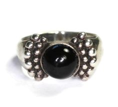 Onyx and Sterling Ring Beaded Accents Size 7.25 Vintage