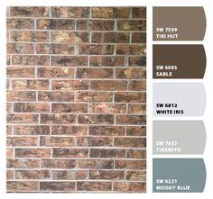 Front Door Colors With Brown Brick Home Exteriors 27 Ideas House Exterior Color Schemes, Exterior Paint Colors For House, Paint Colors For Home, Exterior Design, Paint Colours, Brown Brick Exterior, Brown Brick Houses, Brick House Trim, Red Brick Exteriors