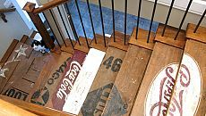 Awesome old wood/logo stairs.