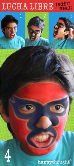 Transform your best friend into a Mexican luchador. Simple 4 step lucha libre face paint tutorial. Click to see how its done! #cincodemayo #mexico #festival #papercraft #printables #masks #luchalibre #facepaint #diy https://happythought.co.uk/cinco-de-mayo/lucha-libre-face-paint-tutorial