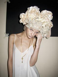 fumbalinas - SS14 #lace and #silk #headdress #queen #vintage #statement #romantic #crown #headdress #headpiece #wedding #bride