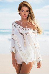 Chic Off-The-Shoulder 3/4 Sleeve Cut Out Women's Cover Up
