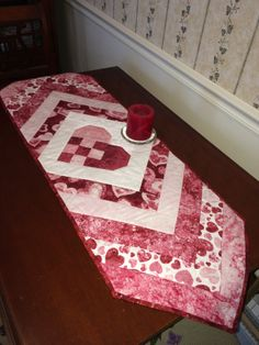 Valentine's Day table runner  -  Nine patch heart with chevrons on either side