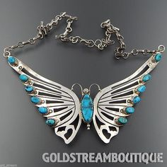 Vintage Sarah Dickens Native American Navajo Sterling Silver Turquoise Butterfly Necklace 18.5""