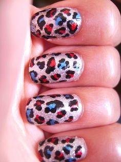 Patriotic leopard print nails from Love Nails, Fun Nails, Pretty Nails, Seasonal Nails, Holiday Nails, Fabulous Nails, Perfect Nails, Amazing Nails, Nail Polish Designs