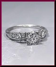 Antique Vintage Art Deco 1930's Platinum Diamond Old European Cut Diamond Engagement Ring Wedding Ring by AntiqueJewelryNyc on Etsy