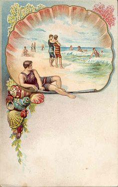 Vintage beach themed postcard by Woof Nanny, via Flickr