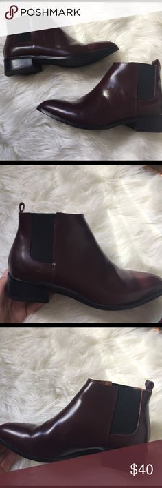 Gap Maroon Leather Ankle booties Gap leather booties in great condition! Barely ever worn! Always willing to change the price so just make a offer! GAP Shoes Ankle Boots & Booties