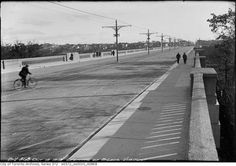 Opening of Bloor Viaduct, a bridge connecting central and eastern Toronto. Note the street car over head wires running down the center of the bridge. The lower level will hold the Bloor Danforth subway trains when built in the Scarborough Beach, Yonge Street, York Hotels, Prince Edward, Historical Architecture, City Streets, Landscape Photos, Vintage Photos, Vintage Photographs