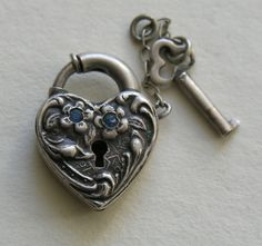 Walter Lampl Blue Paste and Flower Sterling Heart Lock and Key from redrobinantiques on Ruby Lane
