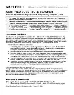 sample teacher resumes | substitute teacher resume | resumes ... - Substitute Teacher Resume Example