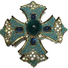 Mimi Di N Maltese Cross Brooch Layered Faux Turquoise Flawed Emerald Cabochon #MimiDiN