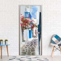 Hopkins Walk through Santorini Door Wall Mural Beachcrest Home Geometric Wallpaper Murals, Wallpaper Panels, Adhesive Wallpaper, Wallpaper Roll, Peel And Stick Wallpaper, Wall Wallpaper, Santorini, Sticky Back Plastic, Tile Panels