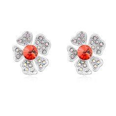 Btime Hot Sale Flower Stud Earrings Crystals from Swarovski Crystal for Swarovski Silver Earring Women Jewelry Pendientes