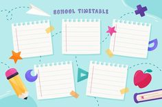 Timetable Planner, Timetable Template, School Timetable, School Template, Background Powerpoint, Blog Backgrounds, English Activities, Binder Covers, Weekly Planner
