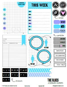 Free printable pdf download of blue grid journaling elements and cards for project life or other types of pocket scrapbooking. Free for personal use only.