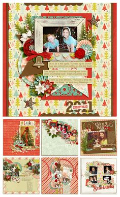 {Holiday Scrapbooking} Such cute page ideas!!!  Use wrapping paper as your background page (sprayed with acid remover first)
