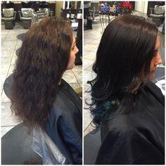 Darker is better and so is blue #peacock #blue #pravana #curls #change #hairbykarleeann #ellemariekarlee #ellemarielakestevens