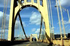 Yellow bridge in Pittsburgh