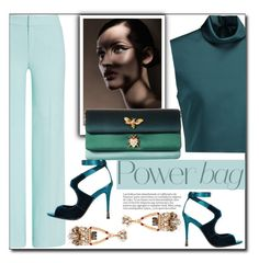 GREEN & BLUE by littlefeather1 on Polyvore featuring polyvore TIBI ESCADA Tom Ford Dolce&Gabbana Anton Heunis fashion style clothing topsets polyvoreeditorial