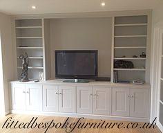 Media cabinet.  Shaker panel doors. Hand painted in 'Elephants Breath' by FB.  Chobham, Surrey.