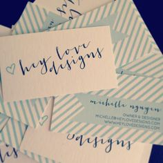 New Calligraphy Business Cards: classic and fun | Hey Love Designs