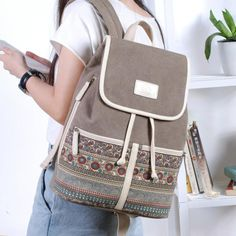 Boho Canvas Backpack  28x37xx14cm Durable Canvas 4 Great Colors to choose from Arcuate Shoulder Strap Interior Zipper Pocket Cell Phone Pocket Interior Slot Pocket Inner Lining  Come and Visit our site: workingwhatnot.com/ Rucksack Backpack, Canvas Backpack, Drawstring Backpack, Leather Backpack, Travel Backpack, Stylish Backpacks, Girl Backpacks, Bags 2018, Vintage Canvas