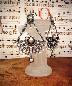 Customized Bridal Jewelry - Swarovski Crystal Chandelier Earrings in Elizabethan Inspired Design with Pearls - Your Choice of Color. $80.00, via Etsy.