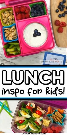 Find healthy lunchbox ideas for kids just in time for Back To School! Make lunches for kids simple, yummy and easy. Families will love all of these recipes for finger foods, simple ideas of fresh veggies and fruit to meal prep and fun ideas for picky eaters. Pack ahead for the school day and make lunchtime easy and fun. #backtoschool #lunchesforkids #healthylunches #pickyeaters #videos #bentobox #easyrecipes #lunchrecipes #lunchideas