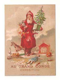 Vintage Santa Father Christmas Trade Card Red Robe Tree Toys Dolls | eBay