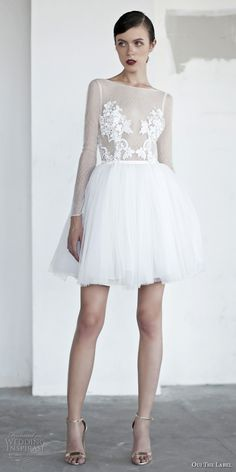 oui the label 2017 bridal long sleeves bateau neck sheer heavily embellished bodice tulle romantic above the knee mini short wedding dress with pockets open v back (3) mv -- OUI The Label 2017 Wedding Dresses #wedding #bridal #weddingdress