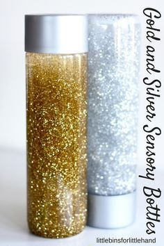 Super simple and inexpensive silver and gold glitter calm down bottles for play or sensory processing. Easy to make glitter calm down bottles for kids. Sensory Table, Sensory Bins, Sensory Activities, Sensory Play, Activities For Kids, Infant Sensory, Kid Activites, Sensory Therapy, Calming Activities