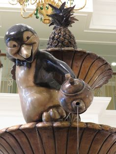 Cute photo of the Mary Poppins penguin fountain in the lobby of the new Grand Floridian DVC Villas addition.