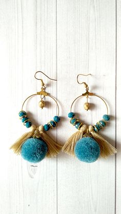 orecchini con nappine e pompon tassels earrings boho