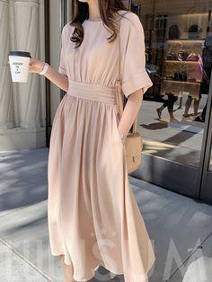 Women Summer Short Sleeve Plain Cotton Dress A Line High Waist Causal Janpan Style Chic Simple O neck midi Dresses Korean Girl Fashion, Muslim Fashion, Modest Fashion, Look Fashion, Fashion Dresses, Female Fashion, Pretty Outfits, Pretty Dresses, Beautiful Dresses