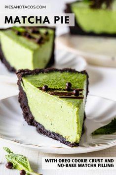 Matcha Pie, oreo cookie crust with no-bake matcha filling #matcha #pie #dessert #greentea #nobake #easy #oreo #chocolate