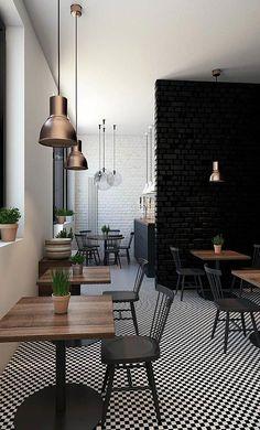 Interior design of cafe in minimalist style #ModernHomeDecorInteriorDesign