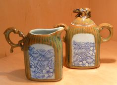 Golden Bear Sugar and Creamer - Porcelain, one of a kind by Tricia McGuigan, represented by Human Arts Gallery in Ojai, CA