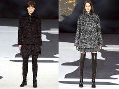 Lederstulpen / Tweedstulpen  Das erste Material an das man denkt, wenn man an Chanel denkt ist definitiv Tweed. Daraus jedoch Stulpen zu machen ist eine neue Idee, für die man lange und sehr dünne Beine braucht. Genauso bei den Lederstulpen, die zwar sehr sexy sind, aber auch nur wenn man die Beine dafür hat.