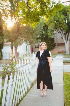 Holiday Dresses: This velvet wrap dress is a GREAT deal and super flattering!