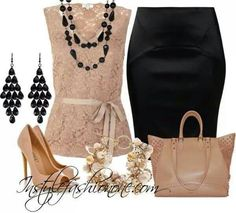 Lacy caramel and black skirt set