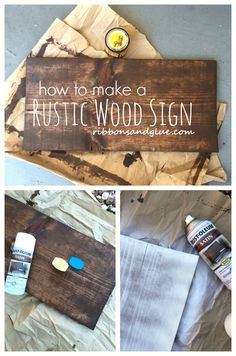 Wood Projects How to make DIY Rustic Wood Sign out of a plain wood board. All you need is stain, spray paint and Vaseline! - How to make a Plain Wood Board Look Rustic using stain, spray paint and Vaseline. How To Make Diy, Crafts To Make, Diy Crafts, How To Make Signs, Decor Crafts, Rustic Wood Signs, Wooden Signs, Diy Distressed Signs, Diy Wedding Wood Signs