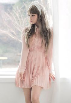 Ulzzang fashion with a soft touch. This peach pastel mini-dress is pretty, few accessories are needed besides a cute tie headband. -Lily #asianfashion #mini-dress