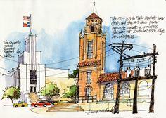 Urban Sketchers: James Richards Sketchbook Inspiration, Art Sketchbook, Fort Worth Downtown, James Richards, City Sketch, New Architecture, Artist Journal, Drawing Sketches, Sketching