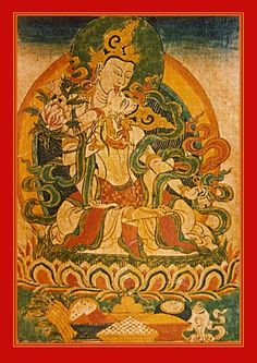 Manjushri and Gandhema, tasting in the embrace of time itself. The Gentle One embodies wisdom and holds a water lily, indicating emotional upheavals have been dispelled. The Fragrant One holds a conch of pure water to wash away the residue of old habit energy.