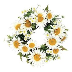 Daisy Wreath - Wreaths - Home Accents - Home Decor |... (€24) ❤ liked on Polyvore featuring home, home decor, flowers, fillers, accessories, plants, decor, backgrounds, circle and circular