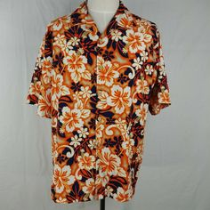 ODO Orange Hawaiian Flower Button Front Short Sleeve Shirt Mens Size XL #ODO #Hawaiian