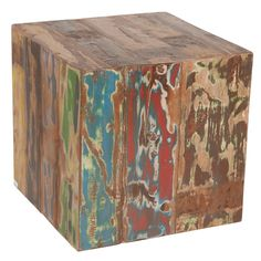 Reclaimed Boat Wood Cube Stool / Table (Indonesia)